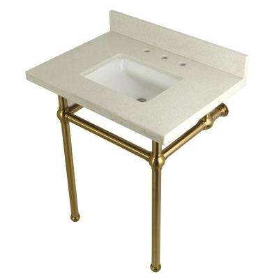 Square Washstand 30 in. Console Table in White Quartz with Metal Legs in Satin Brass