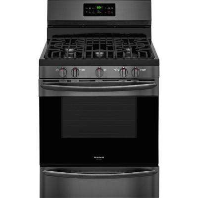 30 in. 5.0 cu. ft. Gas Range with Self-Cleaning QuickBake Convection in Black Stainless Steel