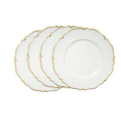 White Melamine Charger Plates with Gold Scallop (4-Pack)