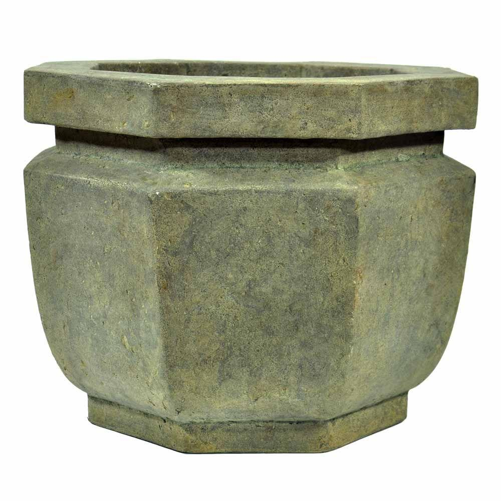 20 in. Octagonal Aged Granite Cast Stone Planter
