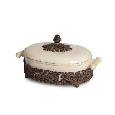 2.5 Qt. Covered Casserole Ceramic with Brown Metal Base
