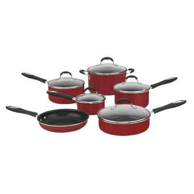 Advantage 11-Piece Red Cookware Set with Lids