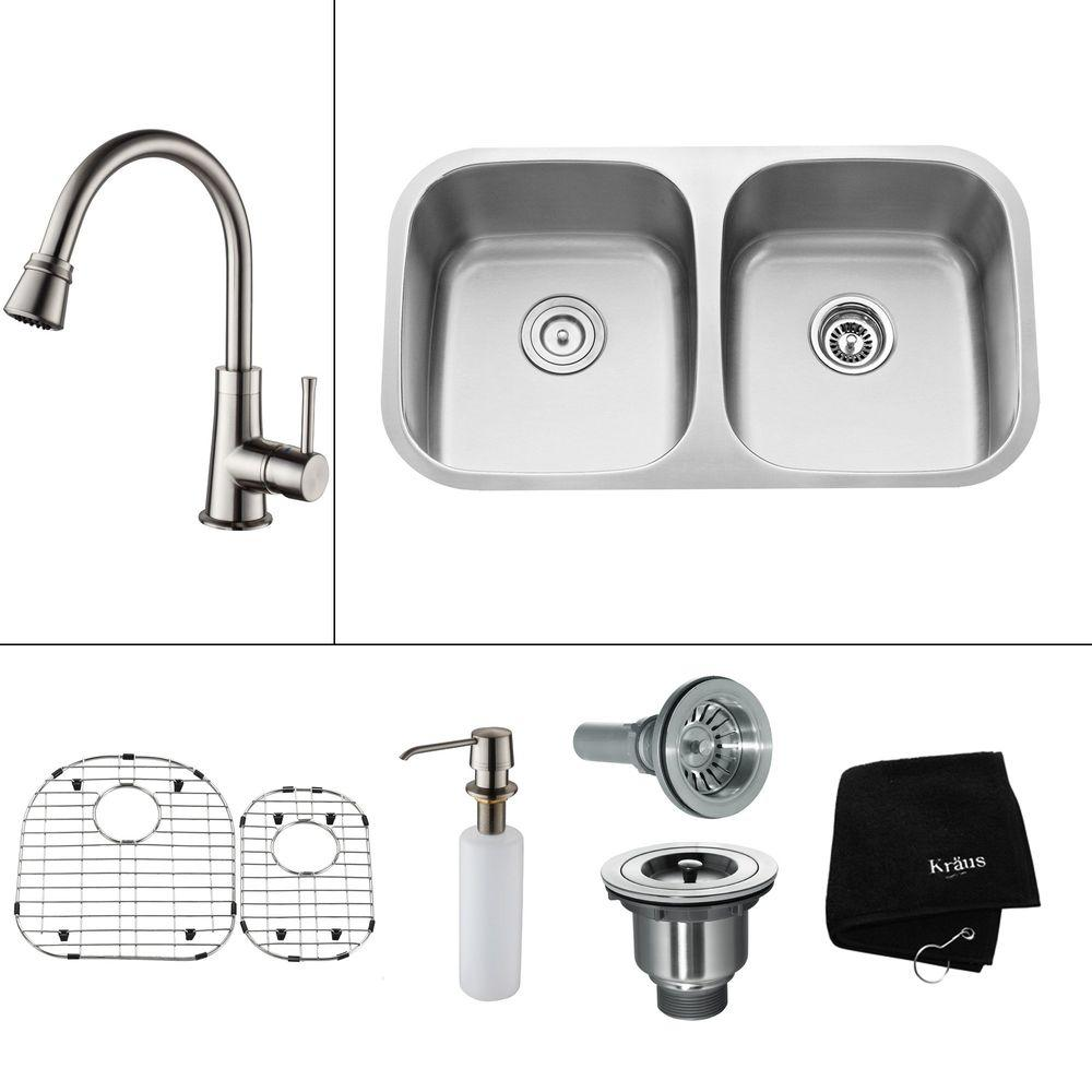 KRAUS All-in-One Undermount Stainless Steel 32.25x18x14.9 in. 0-Hole Double Bowl Kitchen Sink with Satin Nickel Accessory