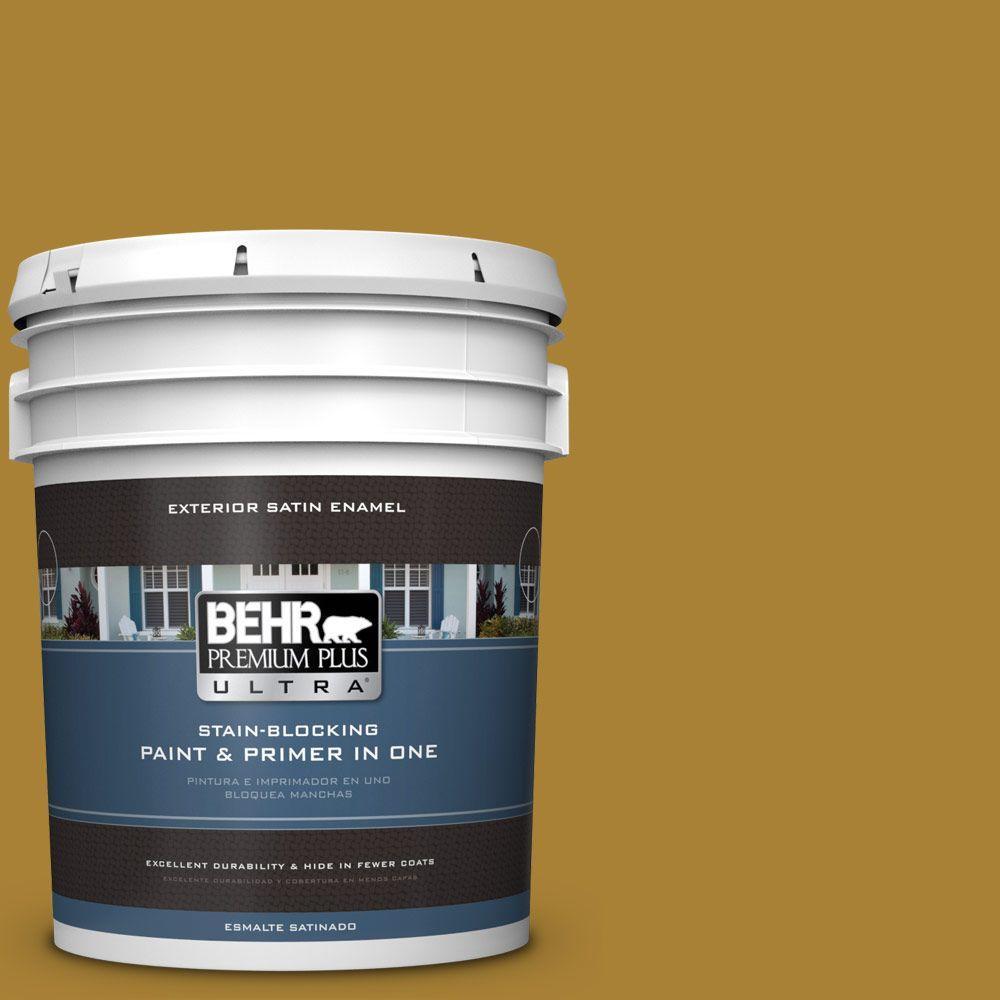 BEHR Premium Plus Ultra 5-gal. #340D-7 Golden Green Satin Enamel Exterior Paint