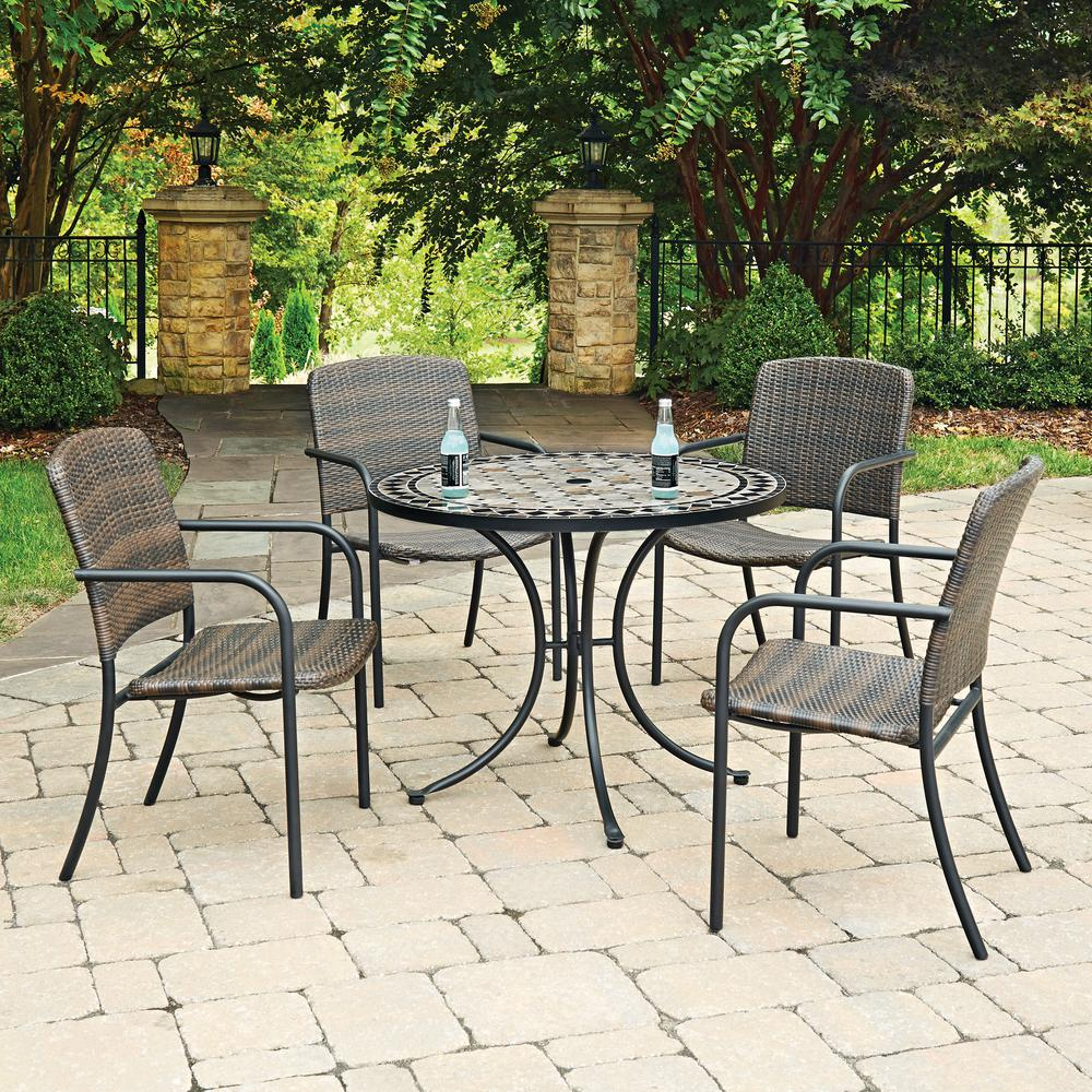 Cottage 5 piece marble outdoor dining set