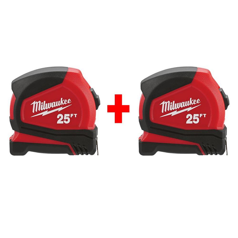 Milwaukee 25 ft. Compact Tape Measure (2-Pack)