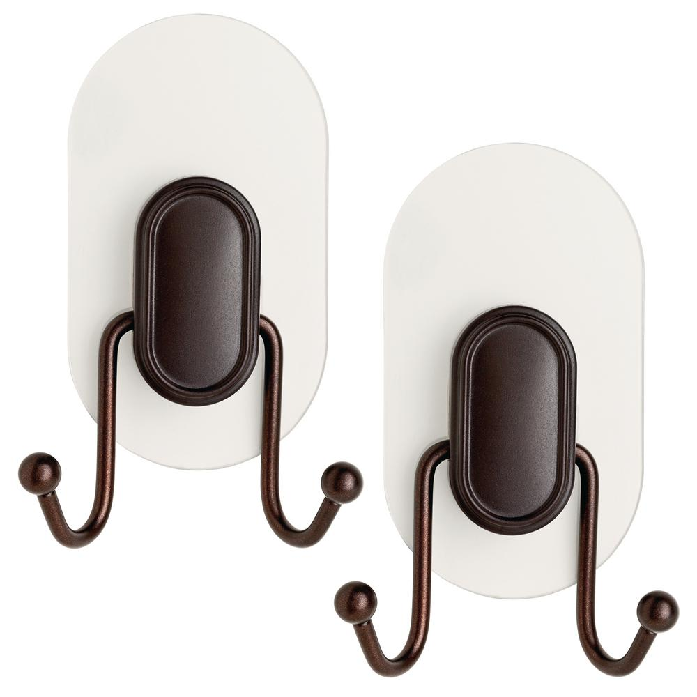 Double Prong Robe Hook with Clear IncrediGrip Pads in Bronze (2-Pack)