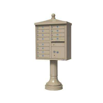 Vital Series 12-Mailboxes 1-Parcel Locker 1-Outgoing Pedestal Mount Cluster Box Unit