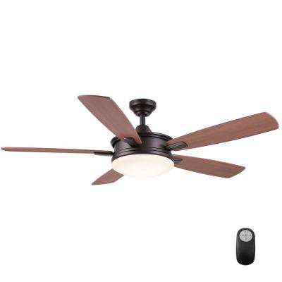 Daylesford 52 in. LED Indoor Oiled-Rubbed Bronze Ceiling Fan with Light Kit and Remote Control