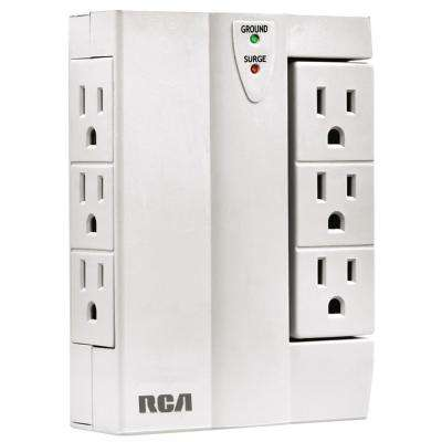 6-Outlet 1200-Joules 1-Side Swivel Surge, White