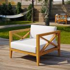 Northlake Natural Grade A Teak Wood Outdoor Lounge Chair with White Cushions