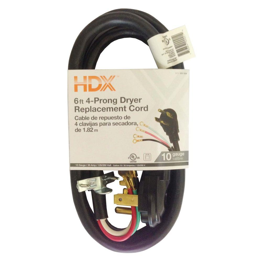 Hdx 6 ft 103 3 wire dryer cord hd627 833 the home depot 4 wire dryer replacement cord greentooth