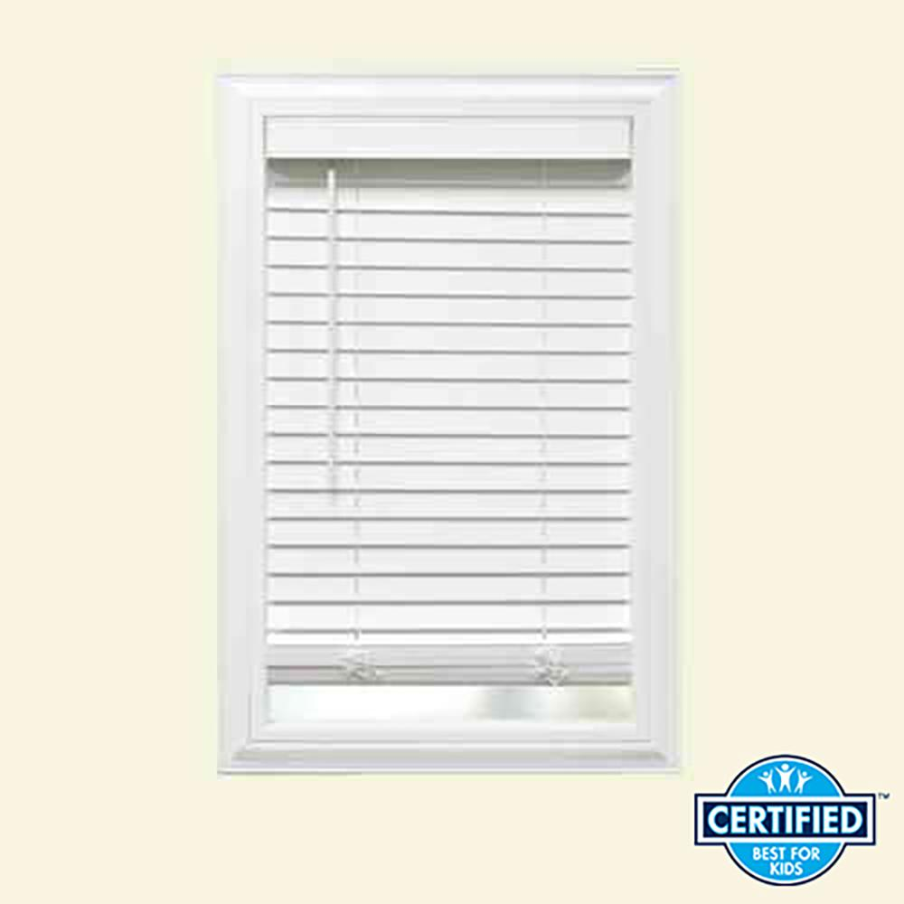 White Cordless 2 in. Faux Wood Blind - 55 in. W