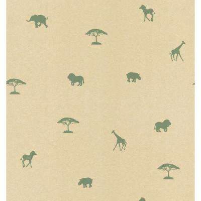 Beige and Green Animal Spot Wallpaper Sample