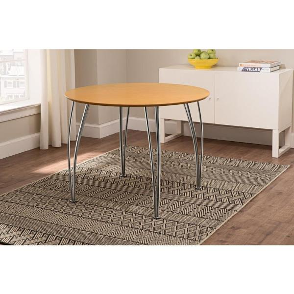 Round Natural Dining Table With Chrome Legs