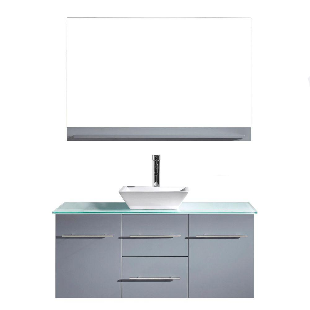 Virtu USA Marsala 49 in. W Bath Vanity in Gray with Glass Vanity Top in Aqua with Square Basin and Mirror and Faucet