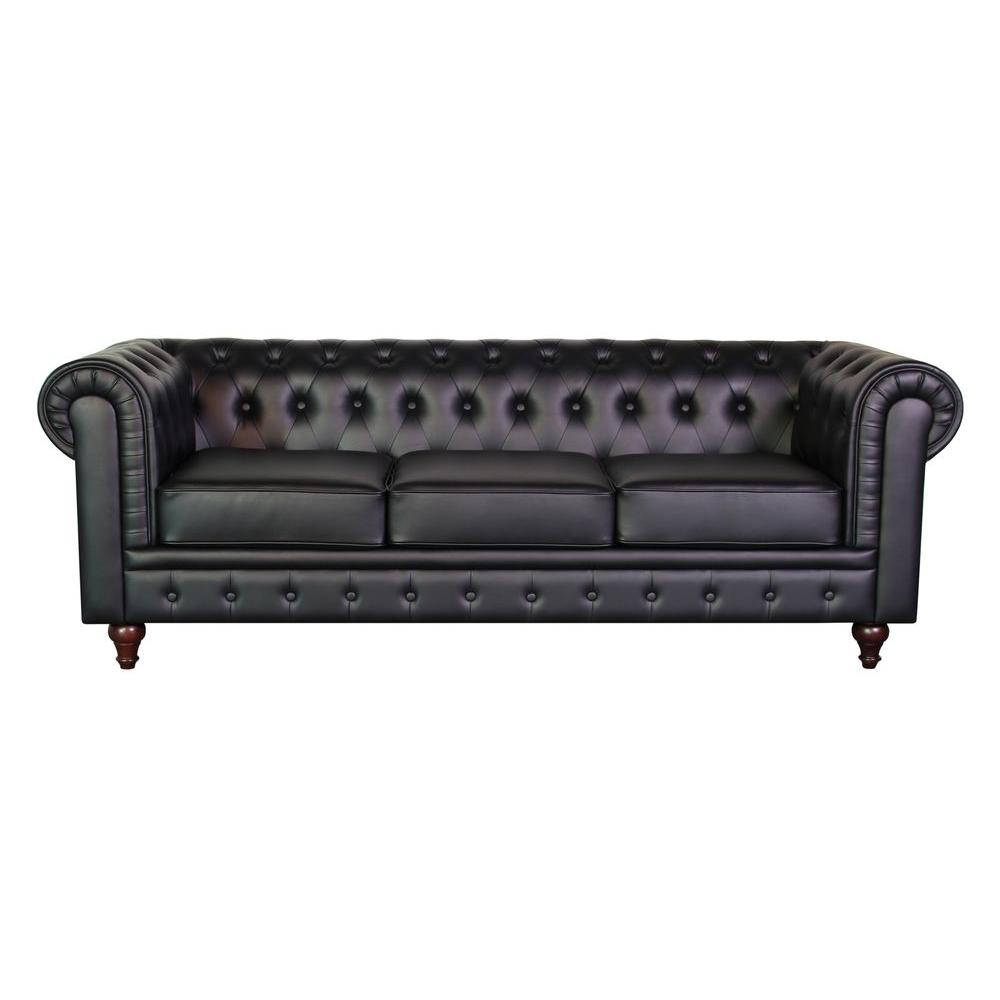 Grace Chesterfield Bonded Leather Button Tufted Sofa Black S5068