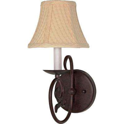 Eunike  1-Light Old Bronze Sconce with Linen Waffle Shade