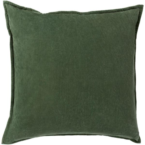 Velizh Dark Green Solid Polyester 20 in. x 20 in. Throw Pillow