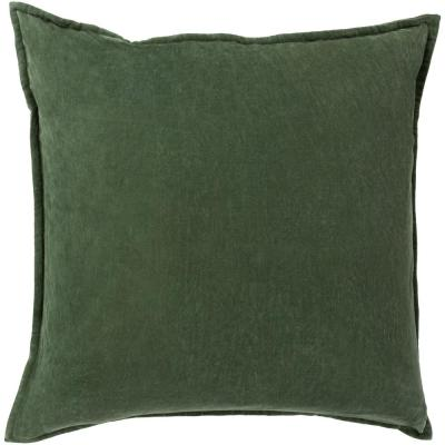 Velizh Dark Green Solid Polyester 22 in. x 22 in. Throw Pillow