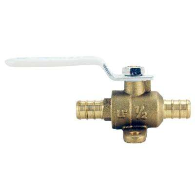 1/2 in. Brass PEX Barb Ball Valve with Drain and Mounting Pad
