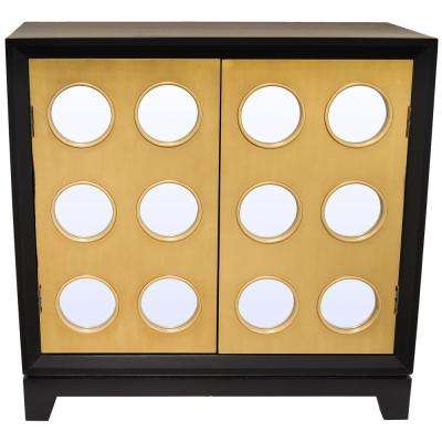 Gold Wood Cabinet with 2-Doors