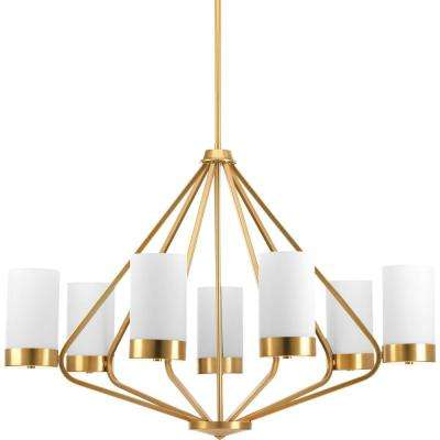 Elevate Collection 7-light Brushed Bronze Chandelier with Etched Glass Shade