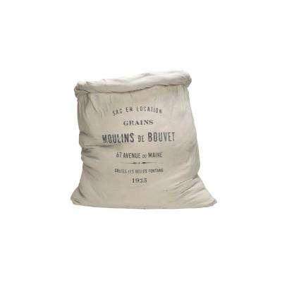 16 in. L x 14 in. H Off-White Canvas-Feed-Sack-Shaped Cement Planter