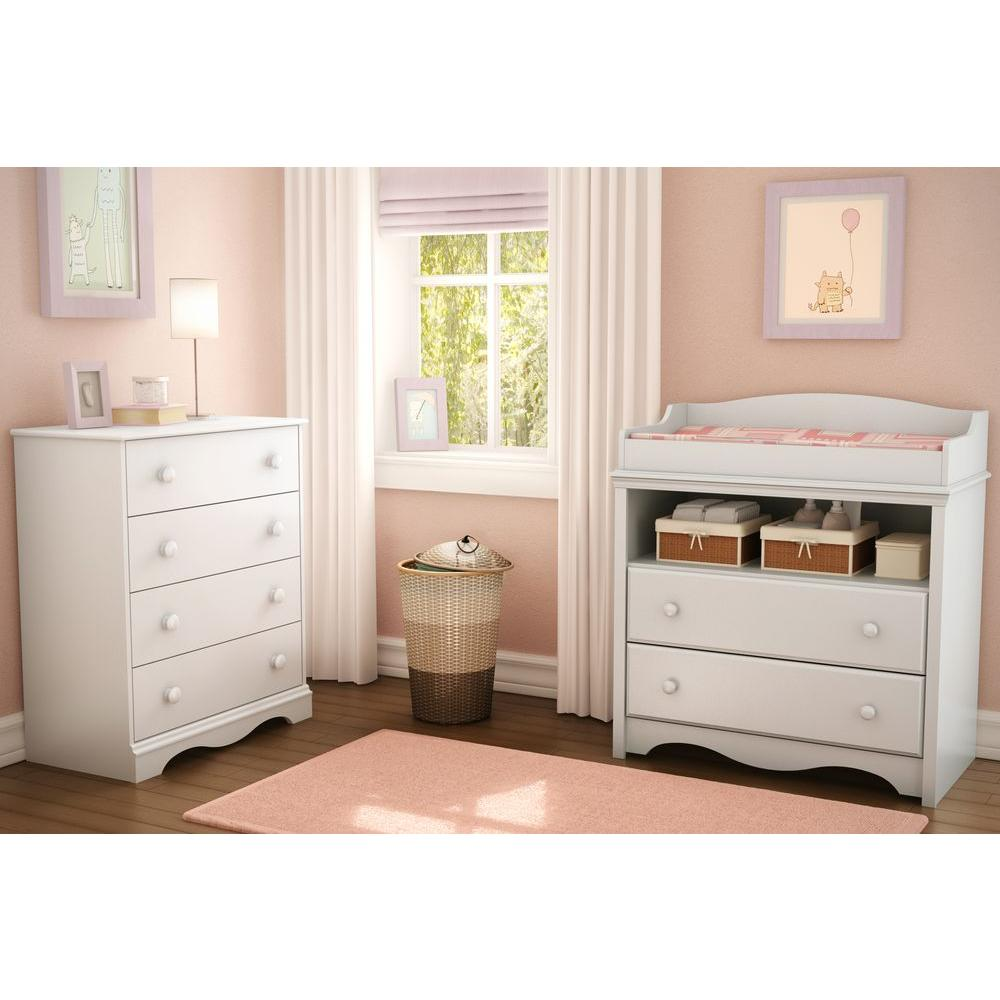 South Shore Heavenly 2 Drawer Pure White Changing Table