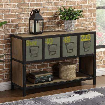 35.5 in. x 23.5 in. Knox Rustic Brown Console Drawer Table