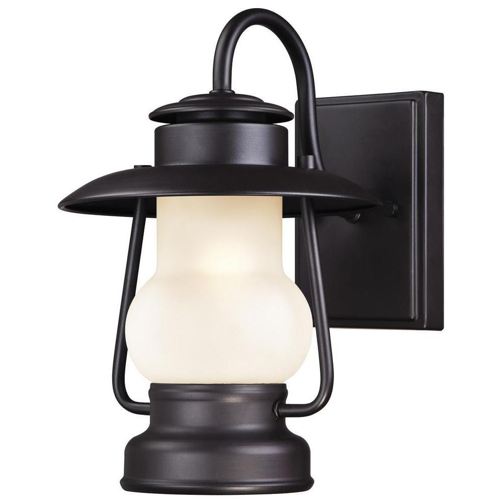 "Westinghouse 62042 - 1 Light (Medium Screw Base) 11.25"" Lantern Weathered Bronze with Frosted Glass Wall Light Fixture"