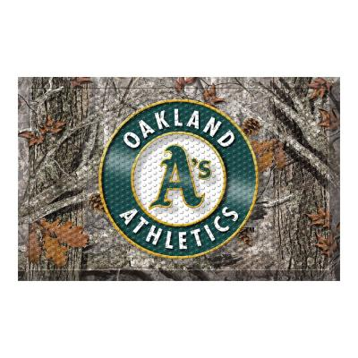 MLB - Oakland Athletics 19 in. x 30 in. Outdoor Camo Scraper Mat Door Mat