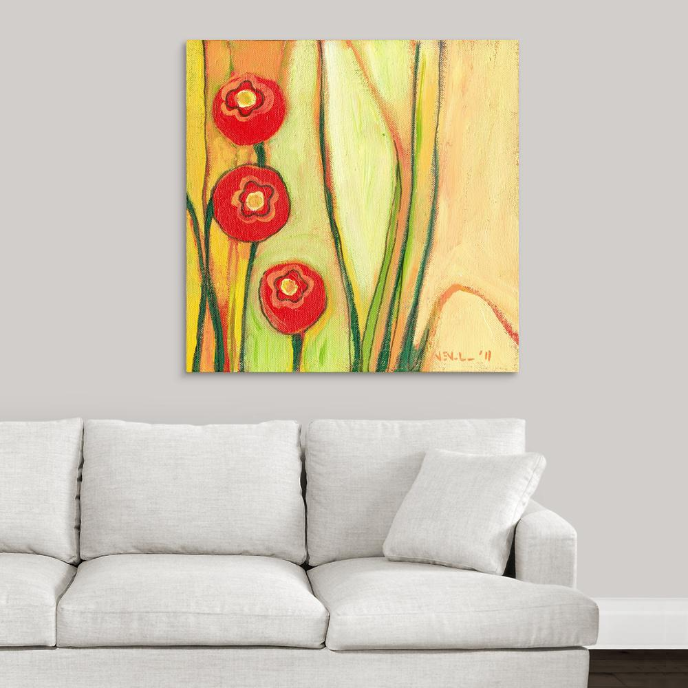 Red - Painting - Flowers - Canvas Art - Wall Art - The Home Depot