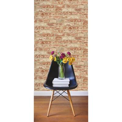 28.18 sq. ft. Stuccoed Red Brick Peel and Stick Wallpaper