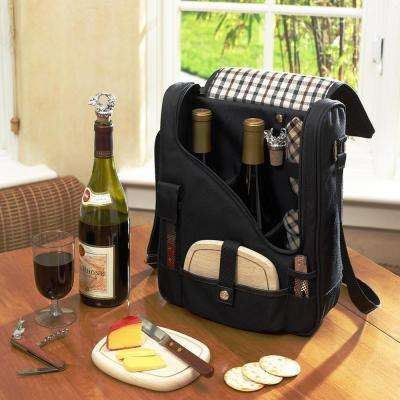 Black and London Wine and Cheese Cooler Bag for 2 with Glasses