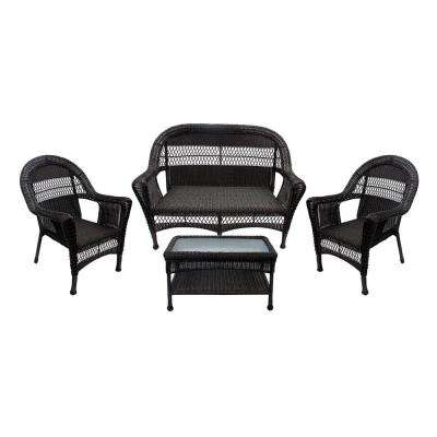 38 in. Brown 4-Piece Resin Wicker Patio Furniture Set with Brown Cushion, 2 Chairs Loveseat and Coffee Table
