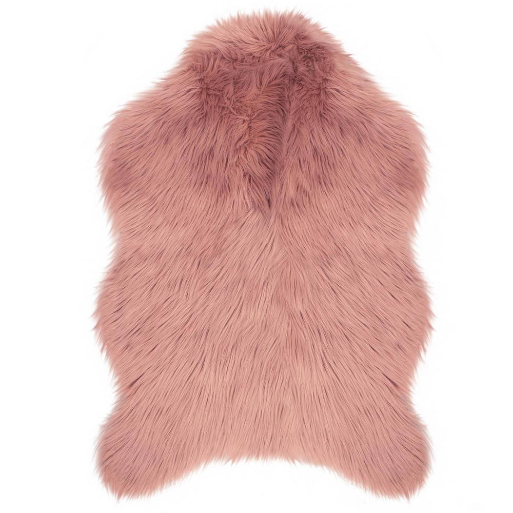 Jean Pierre Faux-Fur Blush 4 Ft. X 2 Ft. 4 In. Area Rug