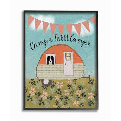 """16 in. x 20 in. """"Sweet Camper Country Illustration"""" by Katie Doucette Printed Framed Wall Art"""