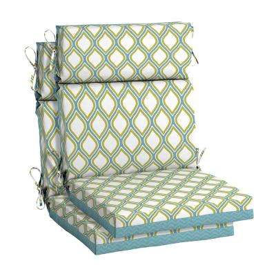 Porcelain and Pear Outdoor High Back Dining Chair Cushion (2-Pack)
