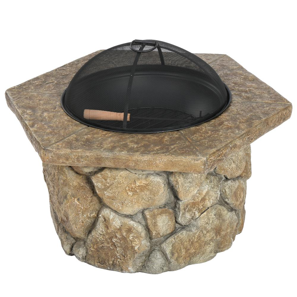 NobleHouse Noble House Emmerson 32 in. x 24 in. Hexagonal Glass Fiber Reinforce Cement Fire Pit, natural stone