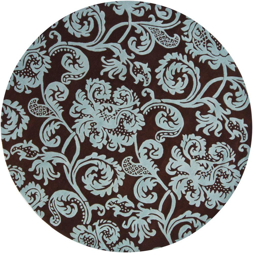 Chandra Venetian Brown Aqua 8 Ft Indoor Round Area Rug