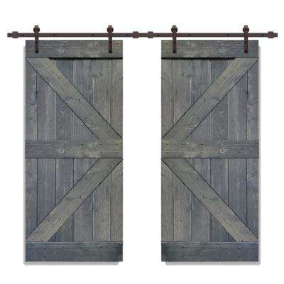Distressed K Series 36 in. x 84 in. Gray Solid Knotty Pine Wood Double Interior Sliding Barn Door with Hardware Kit