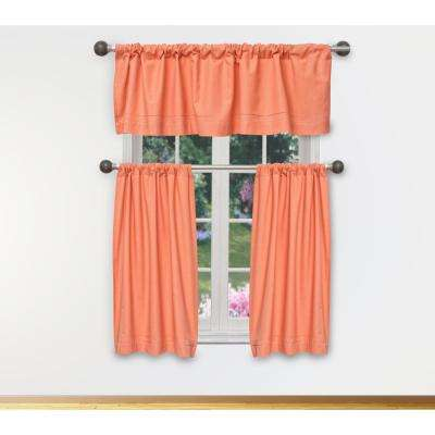 Miles Kitchen Valance in Tiers/Coral - 15 in. W x 58 in. L (3-Piece)