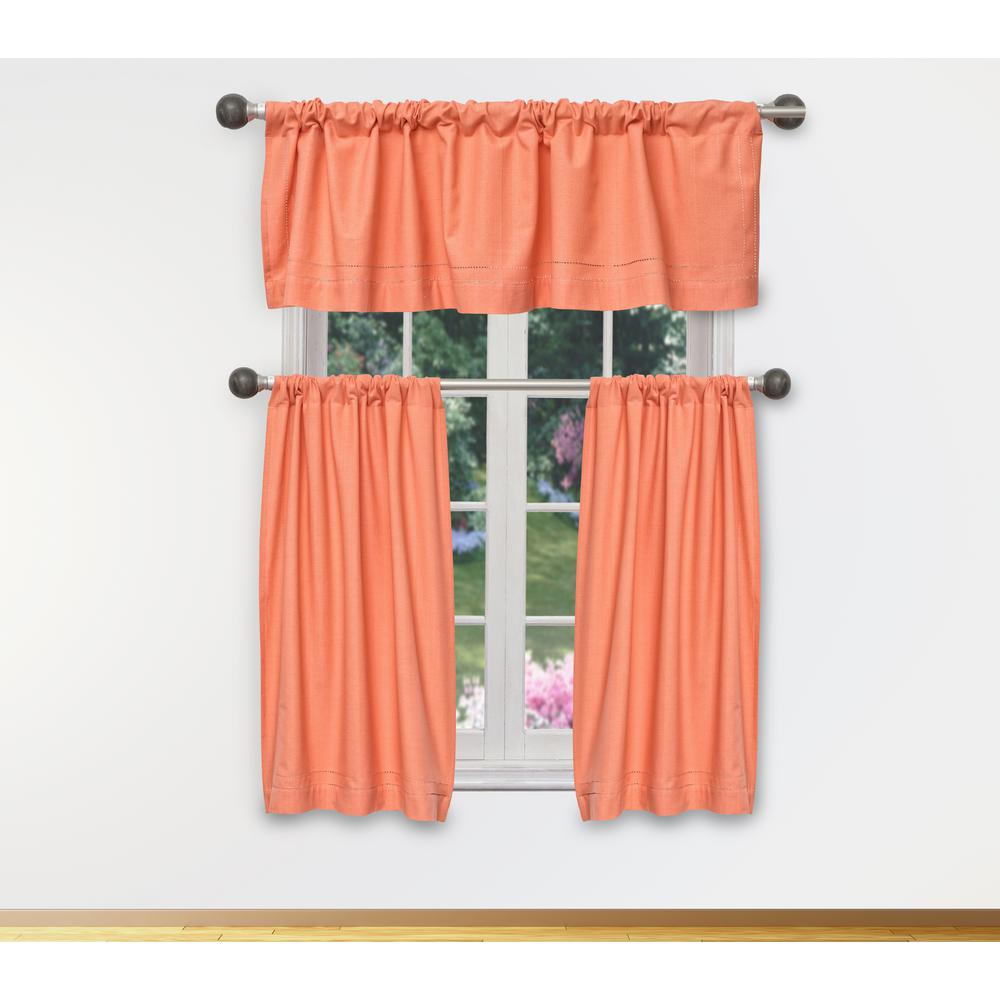 Duck River Miles Kitchen Valance in Tiers/Coral - 15 in. W x 58 in. L  (3-Piece)