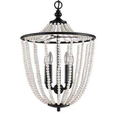 Chloe Collection 5-Light Black Pendant with Cascading Glass Beads