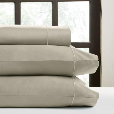 4-Piece Taupe Solid 800 Thread Count Cotton King Sheet Set