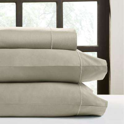 Taupe T520 Solid Combed Cotton Sateen Queen Sheet Set