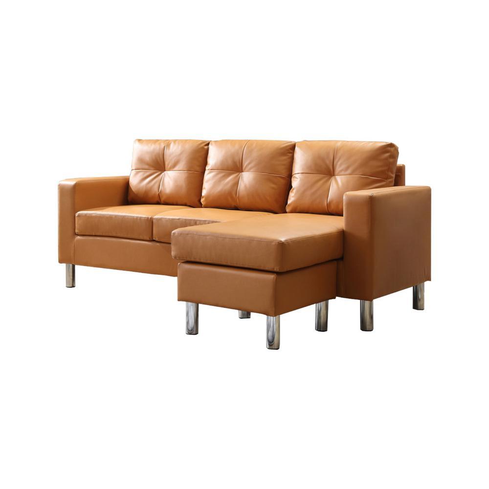 Surprising Mocha Small Space Convertible Sectional Sofa 73030 40Mc Lamtechconsult Wood Chair Design Ideas Lamtechconsultcom