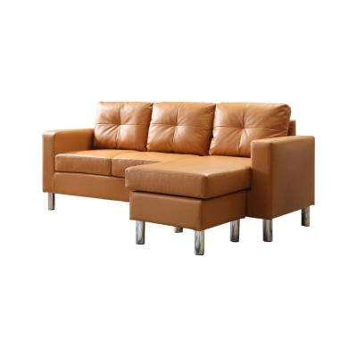 Mocha Small Space Convertible Sectional Sofa