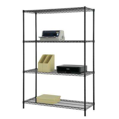 48 in. W x 60 in. H x 18 in. D Multi-Purpose 4-Tier Wire Shelving, Black